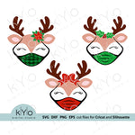 Quarantine Reindeer Face with Mask Bundle Svg cut files