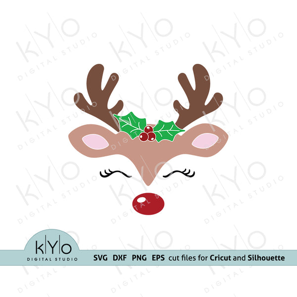 Christmas Reindeer Face with Holly SVG cut files kyo digital studio