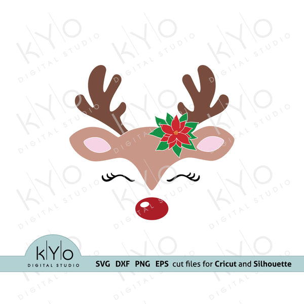 Reindeer face with Poinsettia svg, Cute Girl reindeer svg, Eyelashes svg, Christmas reindeer svg files for Cricut and Silhouette, Christmas dxf files - kyodigitalstudio