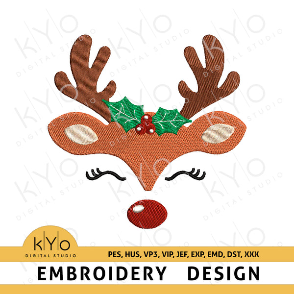 Reindeer embroidery design, Reindeer face with holly machine embroidery design, Eye lashes, Christmas Embroidery design pes hus vp3 vip jef exp emd dst files