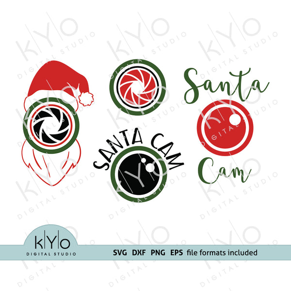 Santa Cam Svg Dxf Eps Cut Files, Printable PNG Files, Christmas Svg files