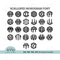 Scalloped Circle Monogram font svg dxf png files, Scalloped Monogram alphabet svg, Cricut fonts, Silhouette Fonts, monogramming letters svg