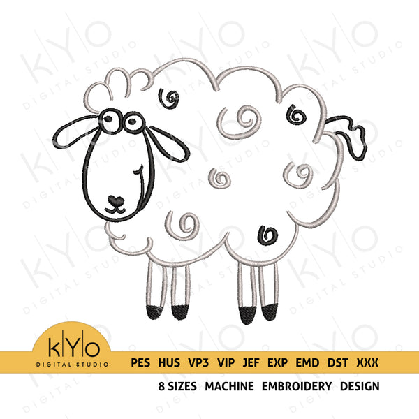 Hand drawn Sheep embroidery design