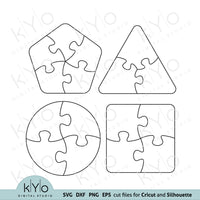 Small puzzle template, autism puzzle piece Circle puzzle template, Rounded square puzzle template, Pentagon Puzzle template, Triangle puzzle template