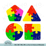 Small Puzzle Templates Svg Dxf Png and Eps Files for Cricut and Silhouette crafts and Laser cutting or engraving, autism puzzle piece, Circle puzzle template, Rounded square puzzle template, Pentagon Puzzle template, Triangle puzzle template