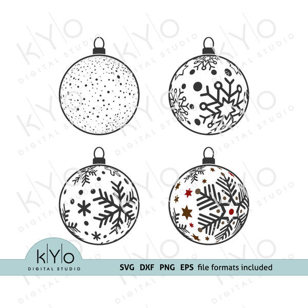 Christmas Snowflake Balls Svg Dxf Png Eps cutting files, Christmas Tree Ball decorations Svg, Christmas Tree Ornaments SVG