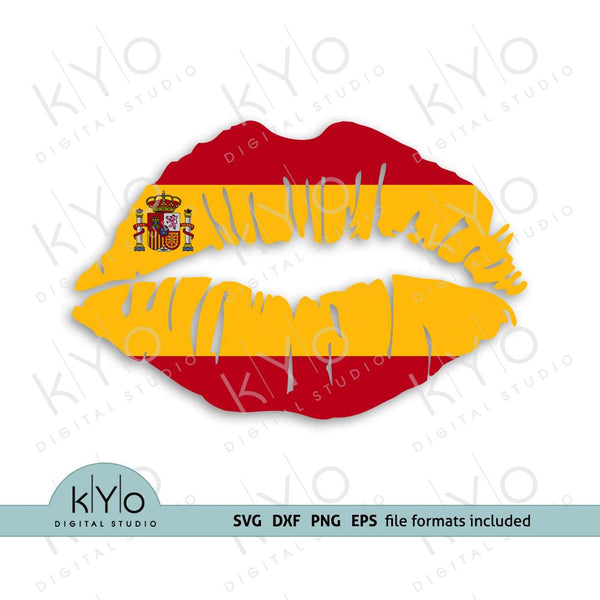 Spain (Spanish) flag girl lips shirt design svg png dxf files-kYoDigitalStudio