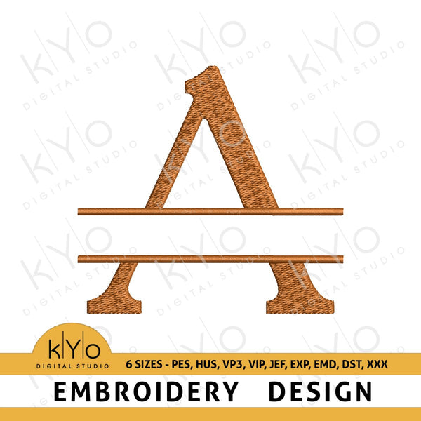 Split Monogram Letter A Embroidery Design-kYoDigitalStudio