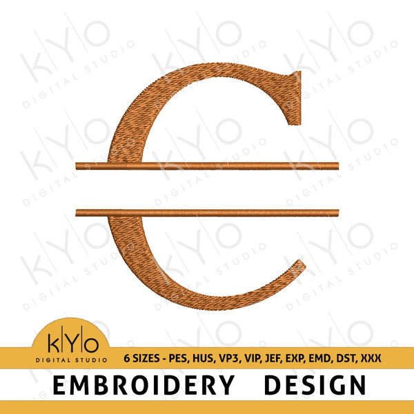 Split Monogram Letter C Embroidery Design-kYoDigitalStudio