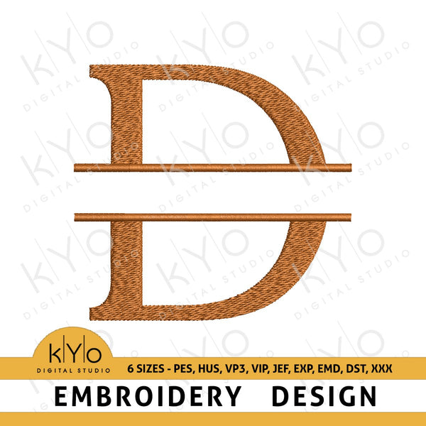 "Split Monogram Letter ""D"" Embroidery Design-kYoDigitalStudio"