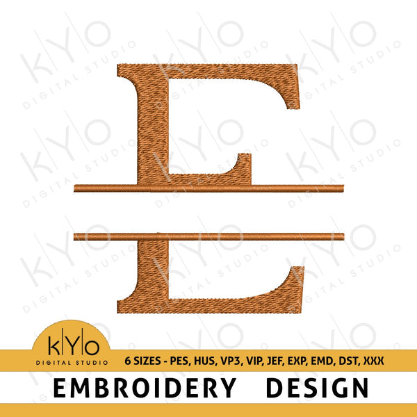 "Split Monogram Letter ""E"" Embroidery Design-kYoDigitalStudio"