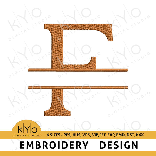"Split Monogram Letter ""F"" Embroidery Design-kYoDigitalStudio"