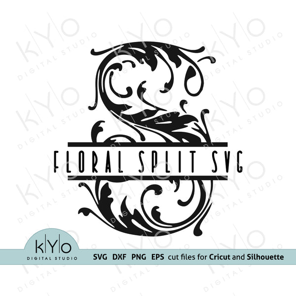 Floral Split Monogram Font Letters Svg Cut Files @kyodigitalstudio
