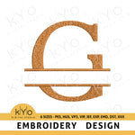 "Split Monogram Letter ""G"" Embroidery Design"