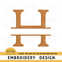 "Split Monogram Embroidery Font Letter ""H"""