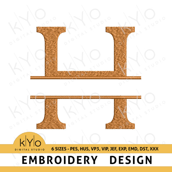 Split Monogram Embroidery Font Letter H