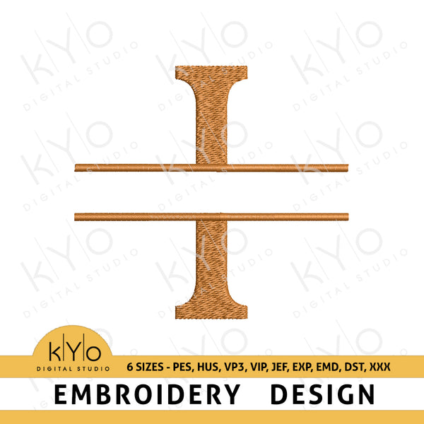 "Split Monogram Embroidery Font Letter ""I"""
