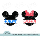 Mickey and Minnie mouse ears split monogram svg cut files-kYoDigitalStudio