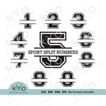 Split Sport Monogram font numbers for Cricut and Silhouette-kYoDigitalStudio