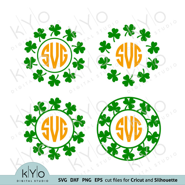 St Patricks Day Clover Shamrock Circle Monogram Frame Svg Png Dxf Eps cutting and printing files for Cricut and Silhouette craft projects #stpatricksdaysvg