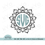 Sunflower Monogram Frame Svg, Mandala svg