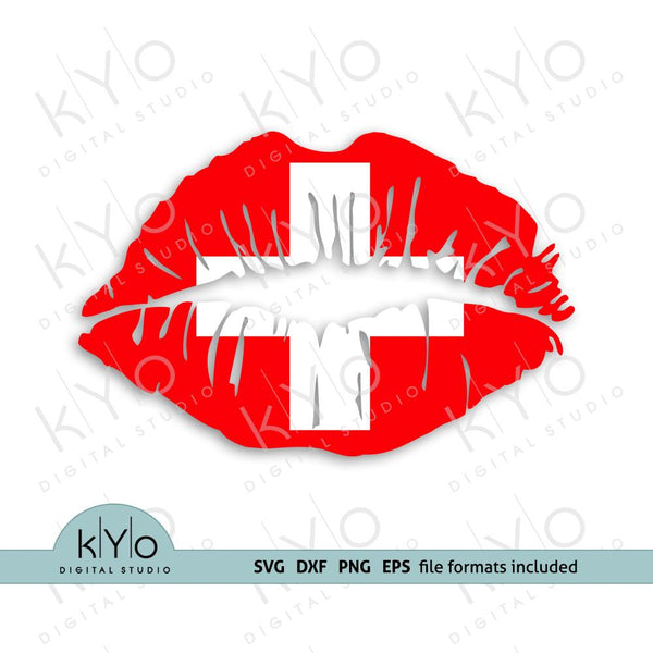 Switzerland Swiss Flag Lips SVG PNG DXF EPS Files - kYoDigitalStudio.com