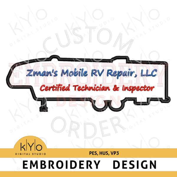 RV Trailer Logo - Custom Embroidery Digitizing Services