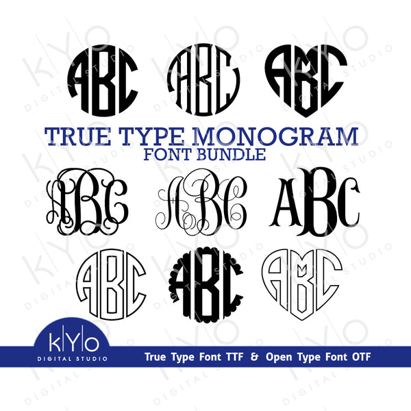 True Type Monogram Fonts Bundle