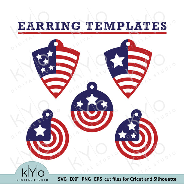 USA American Flag Earrings Design Templates Svg Png Dxf Eps Files by kyodigitalstudio.com