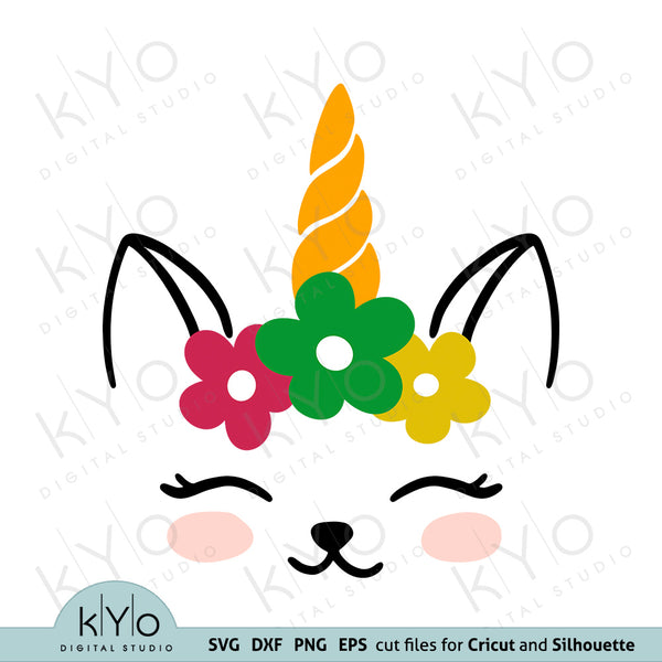 Unicorn Cat Face with Flower Wreath Svg Dxf Png Eps Cutting Files kyo digital studio svg files store free