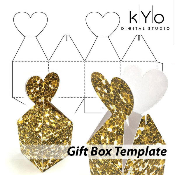 Valentines Day Gift Box Template SVG DXF EPS PDF files, Heart box template, Valentines Day Gift Box, Packaging sample box.