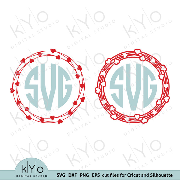 Wired Love Heart Wreath Monogram Frame Valentines Day SVG cut files for Cricut