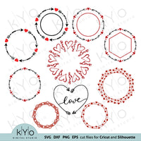 Valentines Day Wreath Monogram Frames Bundle Svg Png Dxf Cut Files