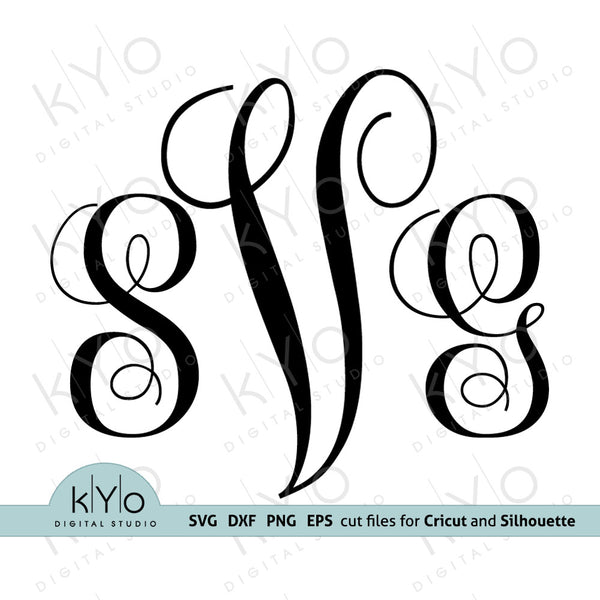 Vine Monogram Font for Cricut and Silhouette Family Initial projects in Svg, Png, Dxf and Eps Cut or Print Files. Laser cutting or engraving machine craft projects.