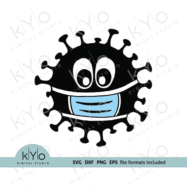 Virus with face mask svg png dxf files, Covid-19 svg by kYoDigitalStudio