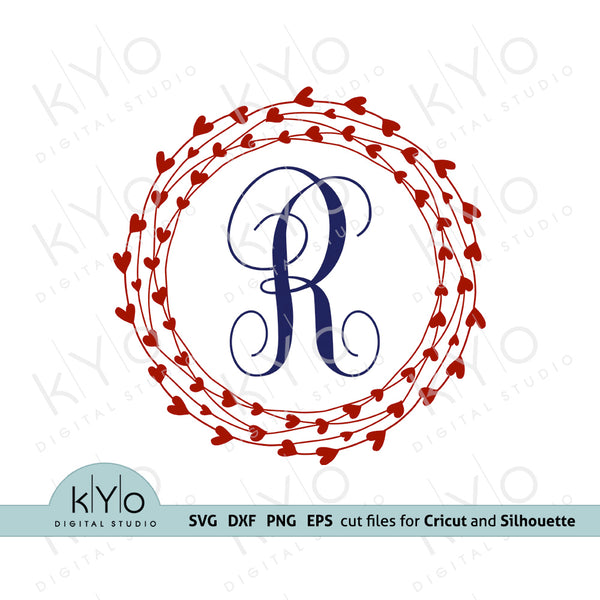 Wired Heart Monogram Frame Svg Cutting files
