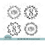 Floral Wreath Monogram Frame bundle SVG cut files - kYoDigitalStudio