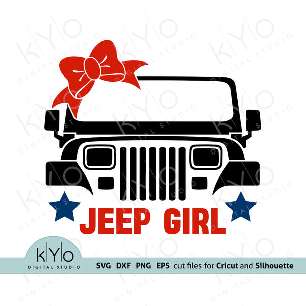 Jeep Wrangler YJ Front Grill Girl Shirt or Jumper printing or cutting design in Svg, Png Dxf and Eps file formats, Off road svg, 4x4 svg, Jeep bow svg files, Jeep grill svg files for Cricut Design space and Silhouette Studio