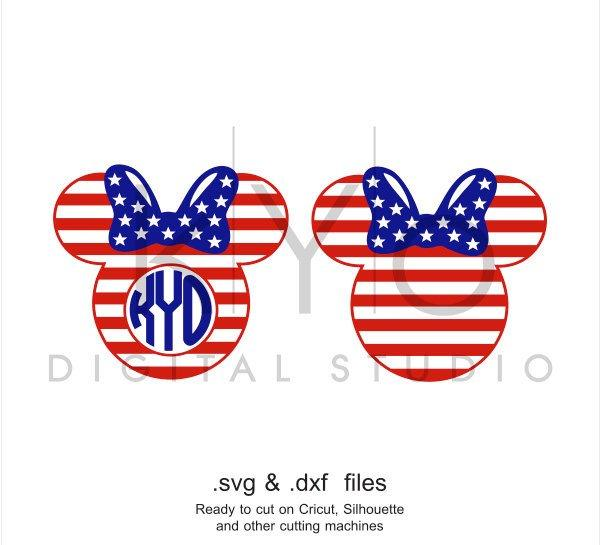 4th of July SVG cutting file American flag Minnie Mouse Ears SVG Fourth of July svg Independence Day SVG svg files for Cricut and Silhouette-kYoDigitalStudio