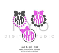 Bow SVG cutting file, Bow Monogram SVG, Bow and Pearls svg files, Pearls SVG files, svg files for Cricut and Silhouette, Cameo files-kYoDigitalStudio