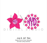 Summer Flower Monogram Frame SVG DXF cutting files for Cricut Explore and Silhouette Cameo-kYoDigitalStudio