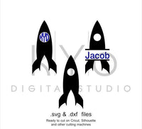 Space Rocket Circle Split Monogram Frame SVG DXF cutting files for Cricut Silhouette Brother-kYoDigitalStudio