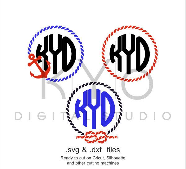 Rope Monogram SVG cutting file, Anchor Rope Monogram Frame SVG, Nautical svg files, svg files for Cricut and Silhouette, Cameo files-kYoDigitalStudio