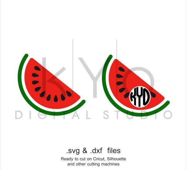 Watermelon SVG Circle Monogram frame SVG Summer svg files Tropical Fruits svg Melon svg cut files for Cricut and Silhouette png dxf files-kYoDigitalStudio
