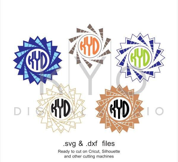Star Circle Monogram Frame Svg Cutting File Circle Star Svg Files Sv
