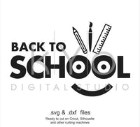 Back to school SVG cutting file, happy face SVG, smiley SVG, svg files for Cricut Explore and Silhouette Cameo-kYoDigitalStudio