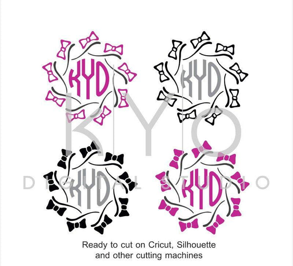 Bow SVG cutting files, Bow Monogram frame SVG, Hand Draw Bows svg files, Pearls SVG files, svg files for Cricut and Silhouette, Cameo files-kYoDigitalStudio