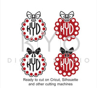 Bow Pearls Monogram SVG files for Cricut Explore Silhouette Cameo Brother Scan N Cut-kYoDigitalStudio