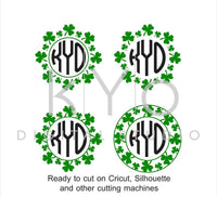 St Patricks Day svg Shamrock Wreath svg St Patricks Day wreath monogram frame svg Clover Shamrock svg files for Cricut and Silhouette #svg-kYoDigitalStudio