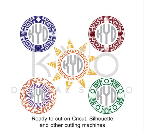 Greek Monogram SVG files Ancient Greek svg Greek pattern svg Greek Ornament svg, Circle monogram svg cut files for Cricut and Silhouette-kYoDigitalStudio